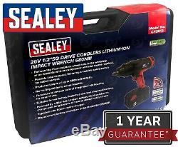 SEALEY 26v Li-Ion Cordless Impact Wrench Gun 680Nm 1/2 Dr 4Ah Lithium Battery