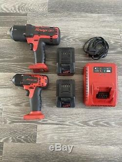 Snap On 1/2 and 3/8 Battery Impact Gun 18v Wrench Set 1/2 3/8
