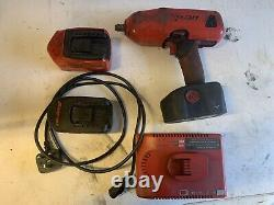 Snap On Tools 18v 1/2 Drive Impact Wrench Gun + 3 Batteries, l