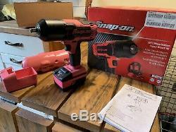 Snap on 18V 1/2 Drive Pink RARE! Lithium Cordless Impact Gun / Wrench Kit