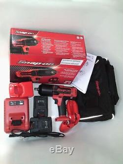 Snap on 18V 1/2 Drive Red Lithium Cordless Impact Gun / Wrench Kit NEW