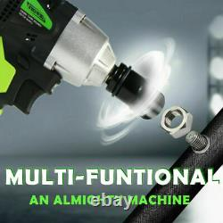 TEETOK 21V Cordless Impact Wrench Gun 1/2 Drive Reversible+ Case+2 Batteries UK