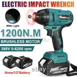 1200 N. M Clé D'impact Sans Fil 1/2'' Drive Électric Ratchet Nut Gun 2 Batteries