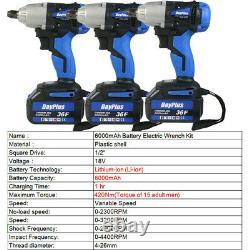 1 /2 Drive Cordless Impact Wrench Ratchet Rattle Nut Gun Avec 2 Batteries Li-ion