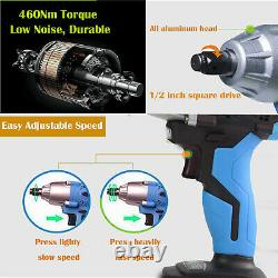 21v Cordless Impact Wrench Gun 1/2 Inch Driver Sockets Tool Carry Bag / Batterie