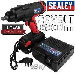 26v Clé À Chocs Sans Fil 680 Nm Gun 1 / 2x Plus 2dr 4ah Li-ion Batteries Au Lithium