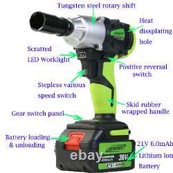 2 Batteries Cordless Impact Wrench Gun Driver Tool 1/2 Ratchet Drive 4 Prises