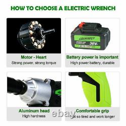 2 Batteries Impact Wrench Car Wheel Nut Removal Rattle Ratchet Gun 1/2 Driver Uk