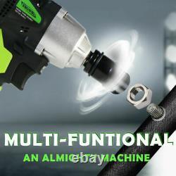 2 Batteries Impact Wrench Electric Cordless Driver 1/2 Car Repair Wheel Nut Gun