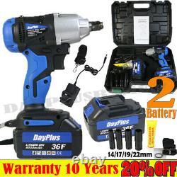 2 X Batterie Cordless Impact Wrench 1/2 Drive 21v Ratchet Rattle Nut Gun Dayplus