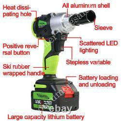 2x Batterie Cordless Impact Wrench 6.0ah Li-ion Ratchet Rattle Nut Gun 1/2 Drive