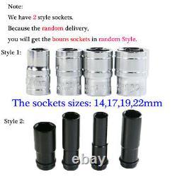 2x Batteries Cordless Impact Wrench Rattle Gun 1/2 Driver Led & 4 Sockets Tool
