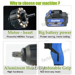 36v 420nm Electric Impact Wrench 1/2 Drive 4 Sockets Cordless Ratchet Gun &case