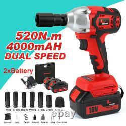 520nm Cordless Electric Impact Wrench Rattle Nut Gun Li-ion Battery 1/2'' Driver