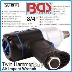 Bgs Germany Twin Hammer 3 / 4drive 1/4 Clé À Percussion Pneumatique Pistolet À Cliquet