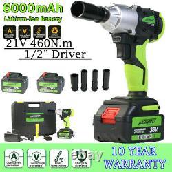 Clé D'impact Sans Fil 1/2 Drive Ratchet Rattle Nut Gun 2 X Li-ion Battery+case