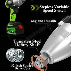 Clé D'impact Sans Fil 1/2 Driver Ratchet Gun 2xli-ion Battery Led 4 X Sockets