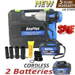Clé D'impact Sans Fil & 2 Batteries Pilote 460nm Electric Rattle Nut Gun 1/2