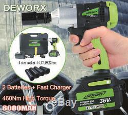 Deworx 21v Sans Fil Clé À Chocs 1/2 Pistolet D'entraînement Réversible + Case + 2 Piles Au Royaume-uni