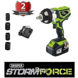 Draper Storm Force 20v Cordless 1/2 Impact Clé 01031 Pistolet À Quatre Douilles