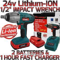 Entraînement Sans Fil Du Pistolet Pour Clé À Chocs Sans Fil Li-ion 24v Avec 2 Batteries Au Lithium Jumelles