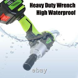 Impact Wrench 2 Batteries Heavy Duty Rattle Ratchet Nut Gun With 1/2 Socket Led