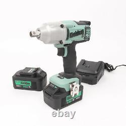 Kielder 18v 1/2 Inch Cordless Impact Wrench Gun 700nm Torque 2x Batterie Au Lithium