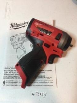 Milwaukee 2552-20 M12v Fuel Stubby Sans Fil 1/4 Sq Court Impact Gun Clé 2018