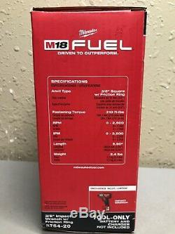 Milwaukee 2754-20 M18 Fuel 3/8 Compact Drive Clé À Chocs Gun Avec Clip De Ceinture