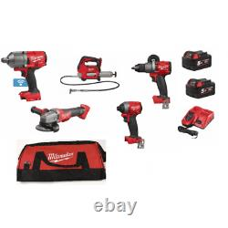 Milwaukee 5 Pièce 18v Kit 3/4 Grench Grinder Grease Gun Drill Impact Driver