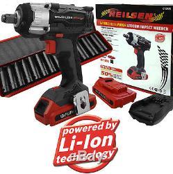 Pistolet À Clé À Chocs Sans Fil 18 V Sans Brosse 1/2 Avec 2 Batteries Au Lithium Et Douilles