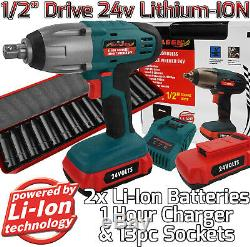 Pistolet À Clé À Chocs Sans Fil Li-ion 24v, 1/2 Piles Et 2 Batteries Au Lithium