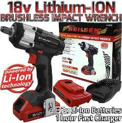 Pistolet À Clé À Impact Sans Fil Li-ion Sans Brosse 18v 1/2 Avec 2 Batteries Au Lithium