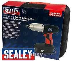 Pistolet D'impact Sans Fil 24v 26v Sealey 1/2 Drive Batterie Li-ion Ni-mh 4.0ah