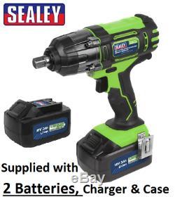 Sealey Cp400li 18volt Sans Fil Clé À Chocs 1/2 Gun 3ah Li-ion 2 X Batteries