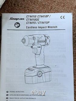 Snap On Tools Ct4418 3/8 Inch Drive 18v Impact Gun Wrench Cordless Ni-cad Nouveau