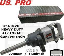 Us Pro Tools 1 Inch Drive Air Impact Wrench Gun 8 Anvil 2200ft-lb 1600nm 8531
