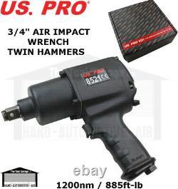 Us Pro Tools 3/4 Air Impact Wrench Gun Torque 1200nm, 885ft-lb Twin Hammer 8521